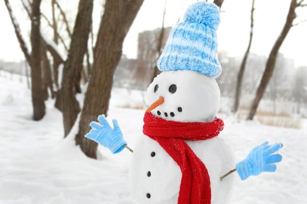 Koncepcja święta bożego narodzenia. zabawny bałwan zimą in