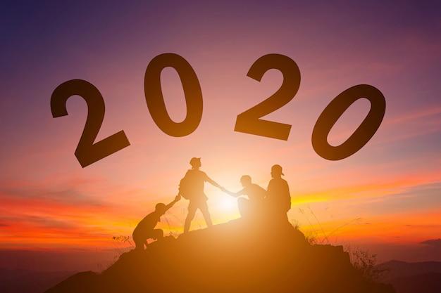 Koncepcja sylwetka nowego roku 2020