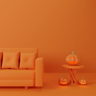 Koncepcja szczęśliwego halloween w mieszkaniu społecznego dystansu i sofa z dyniowym duchem na krześle, pomarańczowe tło.