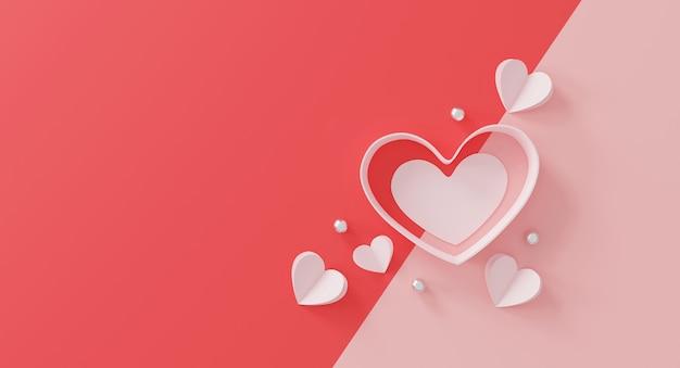 Koncepcja szczęśliwych walentynek. papierowe serce i srebrna kula na różowo.
