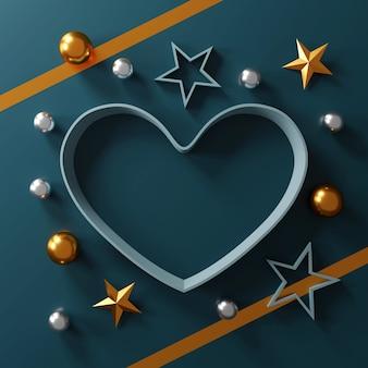Koncepcja szczęśliwych walentynek. pudełko w kształcie serca na zielonym tle.