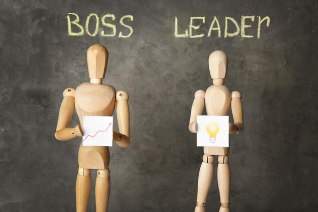 Koncepcja szef vs lider. drewniane figurki na szarym tle