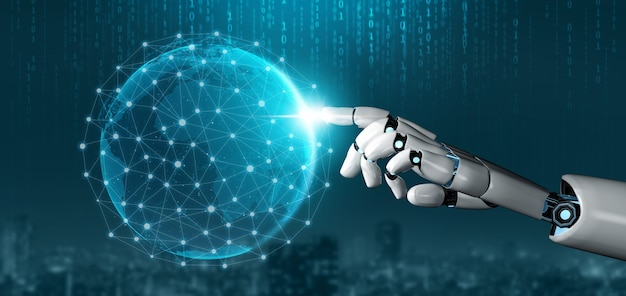 Koncepcja sztucznej inteligencji futurystyczny robot.