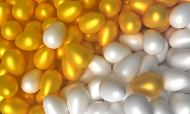 Koncepcja sztuki na temat wielkanocy. biali i złociści jajka 3d ilustracja