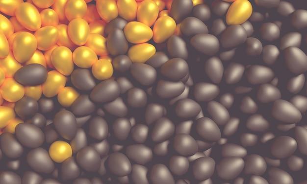 Koncepcja sztuki na temat wielkanocy. czarne i złote jaja 3d ilustracji