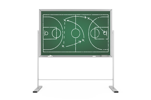 Koncepcja taktyki koszykówki. zielona tablica z boiskiem do koszykówki i strategii gry i taktyki schemat skrajny zbliżenie. renderowanie 3d