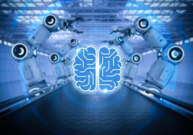 Koncepcja technologii ai z ramieniem robota renderującego 3d z mózgiem obwodu