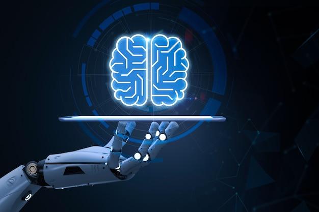 Koncepcja technologii ai z renderowaniem 3d cyborgiem lub robotem z mózgiem obwodu