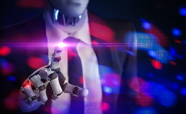 Koncepcja technologii biznesowej z renderowaniem 3d robotyczny punkt dłoni biznesmena z błyszczącym światłem