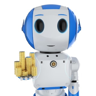 Koncepcja technologii finansowej z renderowaniem 3d mini robotem ze stosem złotych monet