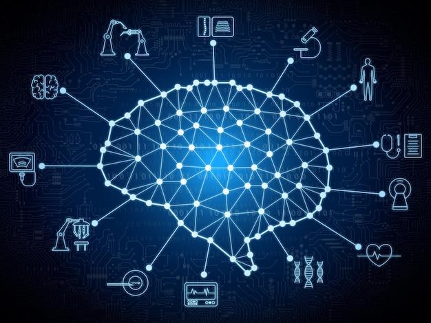 Koncepcja technologii medycznej z połączeniem mózgu i ilustracją ikon medycznych