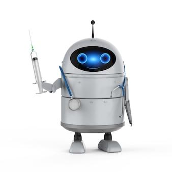 Koncepcja technologii medycznej z renderowaniem 3d android robot trzyma strzykawkę