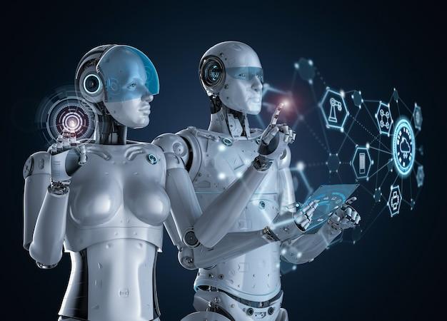 Koncepcja technologii przetwarzania w chmurze z cyborgami renderującymi 3d z wyświetlaczem graficznym
