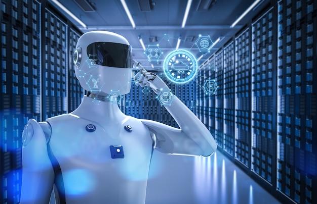 Koncepcja technologii przetwarzania w chmurze z cyborgiem renderującym 3d z wyświetlaczem graficznym