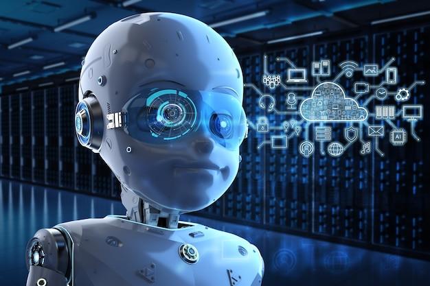 Koncepcja technologii przetwarzania w chmurze z renderowaniem 3d uroczego robota i wyświetlaczem graficznym
