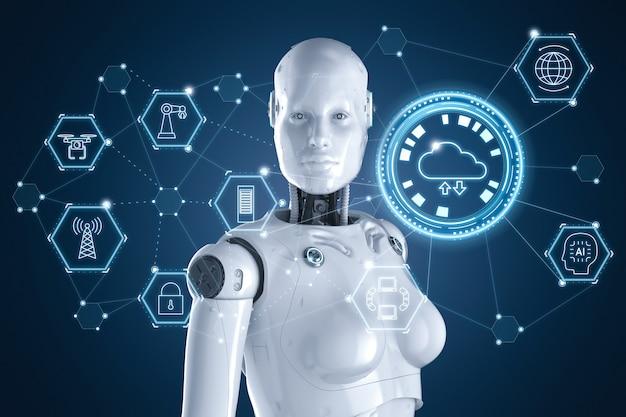 Koncepcja technologii przetwarzania w chmurze z renderowaniem 3d żeński robot pracuje z ikonami