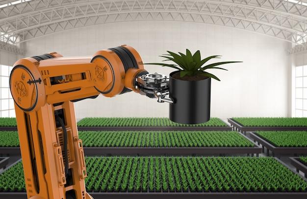 Koncepcja technologii rolnictwa z ramieniem robota renderującego 3d w szklarni