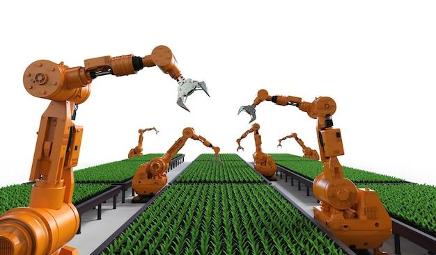 Koncepcja technologii rolnictwa z ramieniem robota w szklarni
