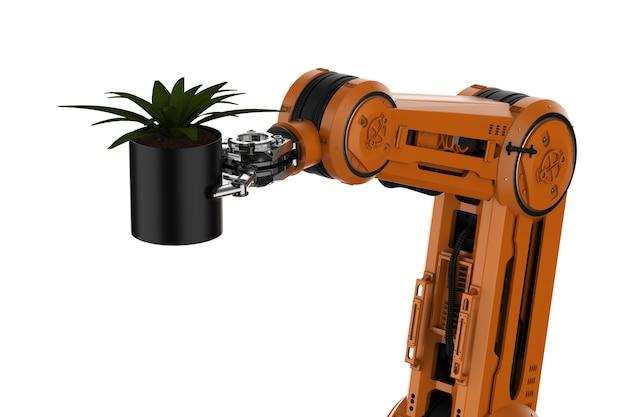 Koncepcja technologii rolnictwa z renderowaniem 3d robotyczne ramię trzyma roślinę na białym tle