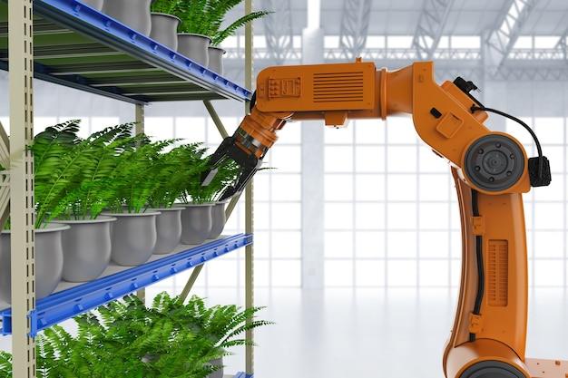 Koncepcja technologii rolniczej z ramieniem robota renderującego 3d w szklarni