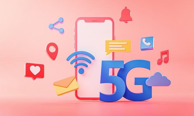 Koncepcja telefonu 5g połączenie wi-fi z ikonami renderowania 3d.