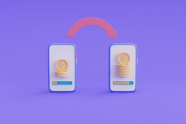 Koncepcja transakcji bankowości mobilnej, koncepcja zwrotu gotówki, ilustracja renderowania online payment.3d.