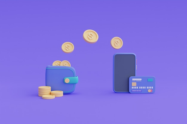 Koncepcja transakcji bankowości mobilnej, płatność przelewem online, smartfon, monety, portfel, karta kredytowa. renderowanie 3d.