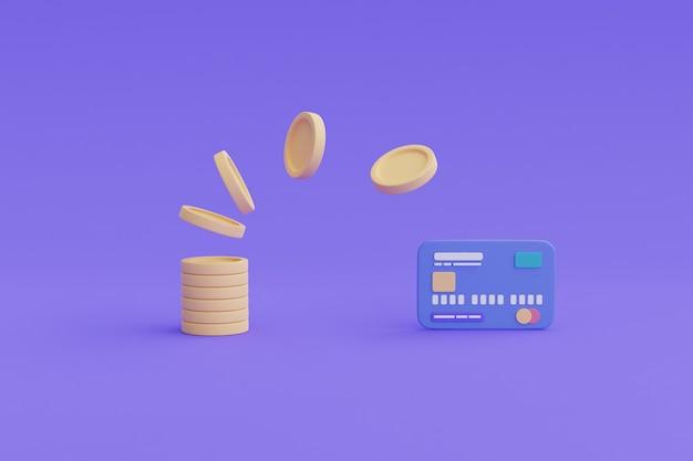 Koncepcja transakcji bankowości mobilnej, płatności przelewem online, monety, renderowanie card.3d.