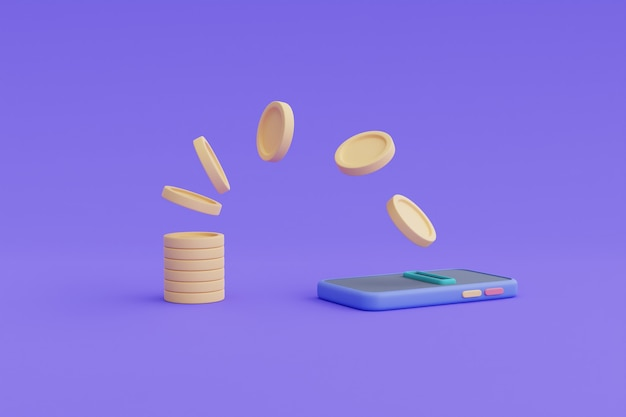 Koncepcja transakcji bankowości mobilnej, płatności przelewem online, smartfon, renderowanie coins.3d.