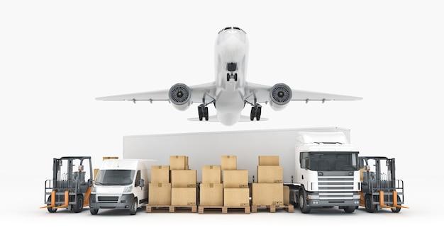 Koncepcja transportu ładunków na całym świecie renderowanie 3d