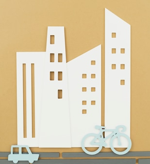 Koncepcja transportu miejskiego z rowerem i samochodem