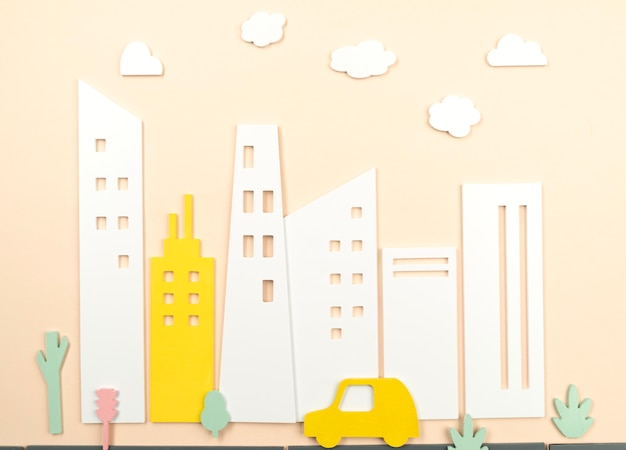 Koncepcja transportu miejskiego żółty samochód