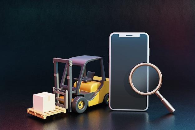Koncepcja transportu online 3d z wózkiem widłowym, skrzyniami ładunkowymi, szkłem powiększającym i telefonem komórkowym. renderowanie 3d.