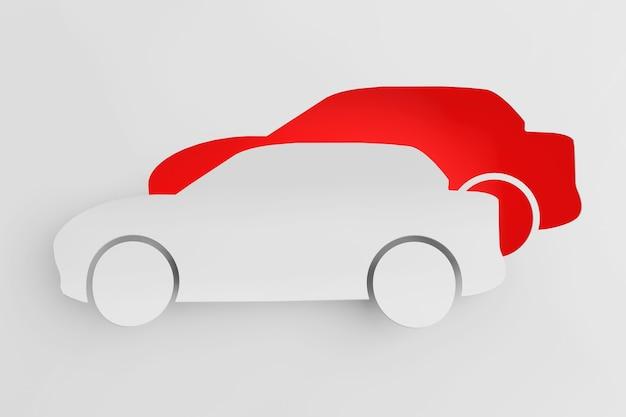 Koncepcja transportu. samochód wycięty z papieru jako naklejka
