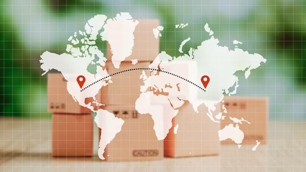 Koncepcja transportu towarów na całym świecie z jednego punktu do drugiego