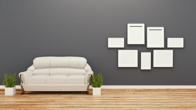 Koncepcja tropikalny styl z czarnej kanapie i roślin w białej podłodze na czarnej ścianie ziemi.