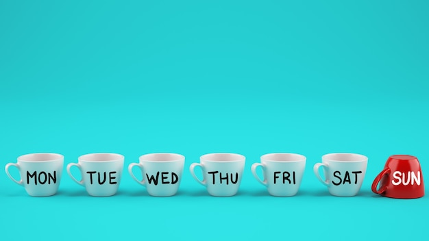 Koncepcja tygodnia pracy. białe filiżanki do kawy w dni powszednie i świąteczna czerwona filiżanka odwrócona do góry nogami