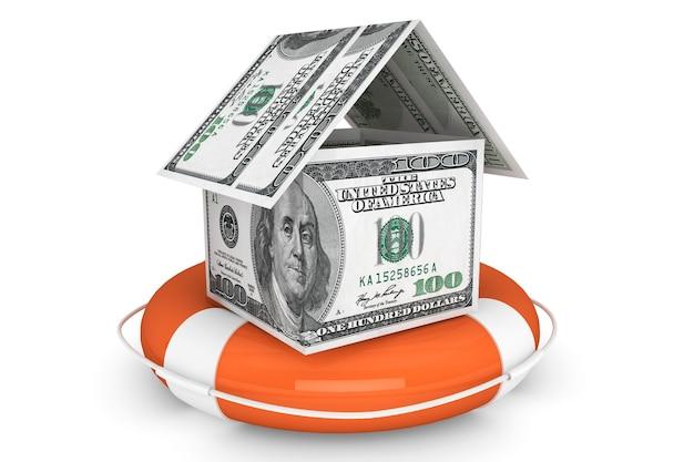 Koncepcja ubezpieczenia. dom dolarów z boją ratunkową na białym tle