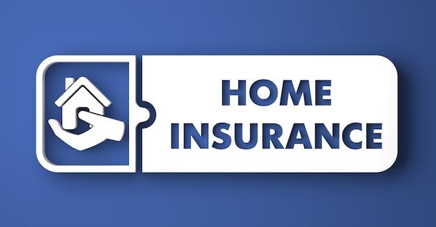 Koncepcja ubezpieczenia domu. biały przycisk na niebieskim tle w stylu płaska konstrukcja.