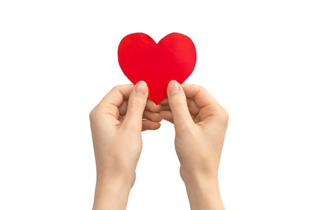 Koncepcja ubezpieczenia. ręka trzyma czerwone serce na białym tle na białym tle. skopiuj zdjęcie miejsca