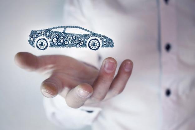 Koncepcja ubezpieczenia samochodu na białym tle