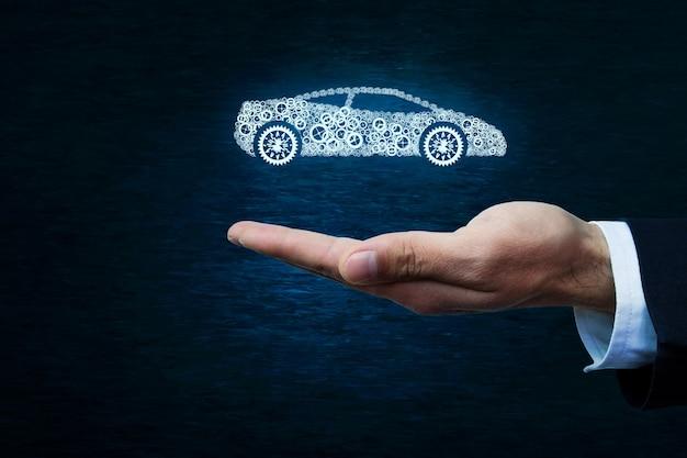 Koncepcja ubezpieczenia samochodu na ciemnoniebieskim tle