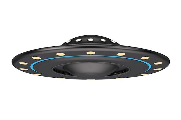 Koncepcja ufo. obcy statek kosmiczny lub latający spodek na białym tle. renderowanie 3d