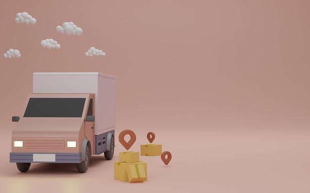 Koncepcja usługi dostawy, dostawa do domu. samochód dostawczy, opakowanie w brązowym pudełku i przypinka. renderowanie 3d.