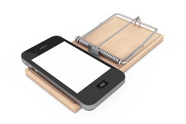 Koncepcja uzależnienia od mediów społecznościowych. telefon komórkowy na drewnianej pułapce na myszy na białym tle. renderowanie 3d.