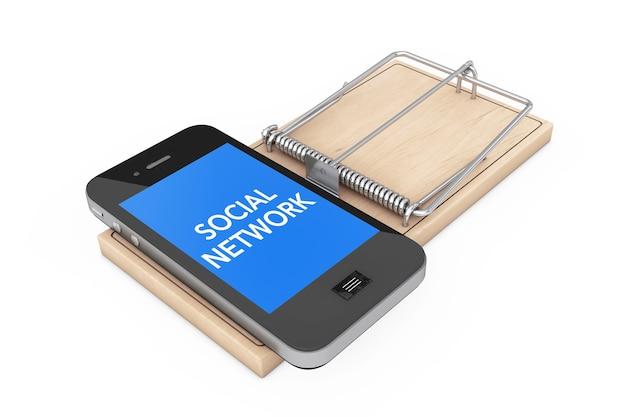 Koncepcja uzależnienia od sieci społecznych. telefon komórkowy na drewnianej pułapce na myszy na białym tle. renderowanie 3d.