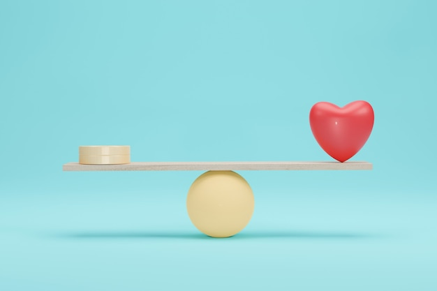 Koncepcja wagi serca i pieniędzy. znaczenie między złotą monetą a równowagą miłości na skali. renderowanie 3d.