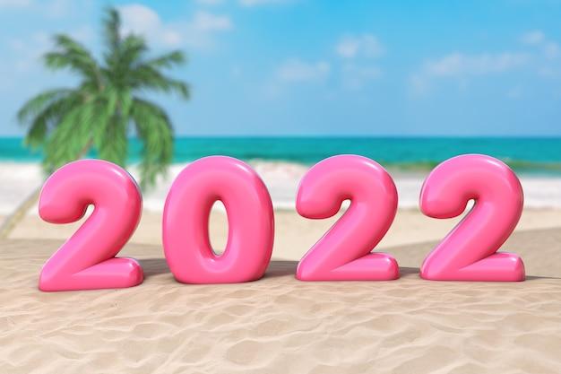 Koncepcja wakacje nowy rok. różowy znak szczęśliwego nowego roku 2022 na ekstremalnym zbliżeniu ocean deserted coast. renderowanie 3d