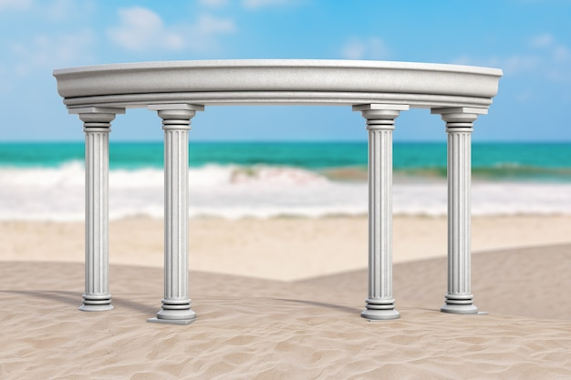 Koncepcja wakacji letnich. arch starożytnej klasycznej greckiej kolumny na ocean deserted coast ekstremalne zbliżenie. renderowanie 3d