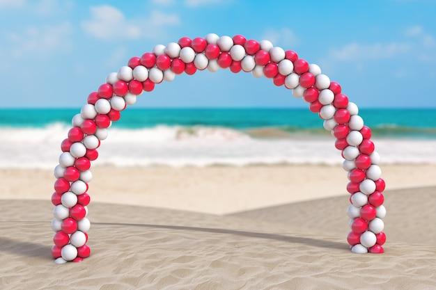 Koncepcja wakacji letnich. białe i czerwone balony w kształcie łuku, bramy lub portalu na skrajnym zbliżeniu wybrzeża bezludnego oceanu. renderowanie 3d